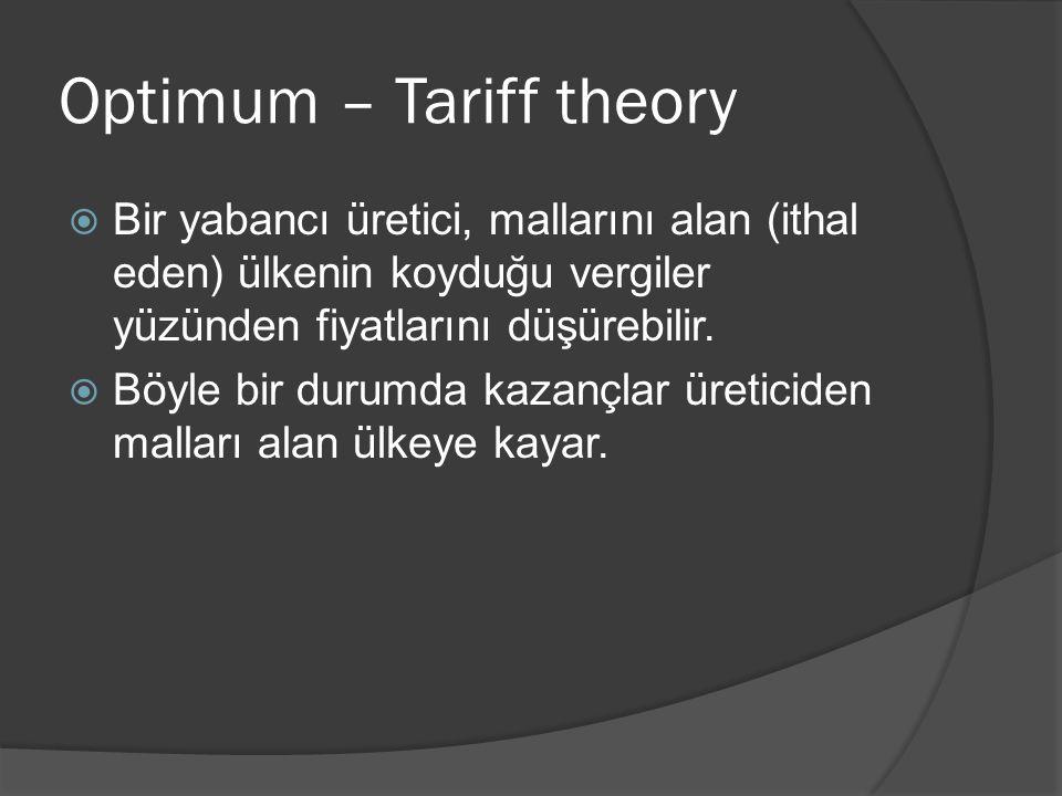 Optimum – Tariff theory  Bir yabancı üretici, mallarını alan (ithal eden) ülkenin koyduğu vergiler yüzünden fiyatlarını düşürebilir.  Böyle bir duru