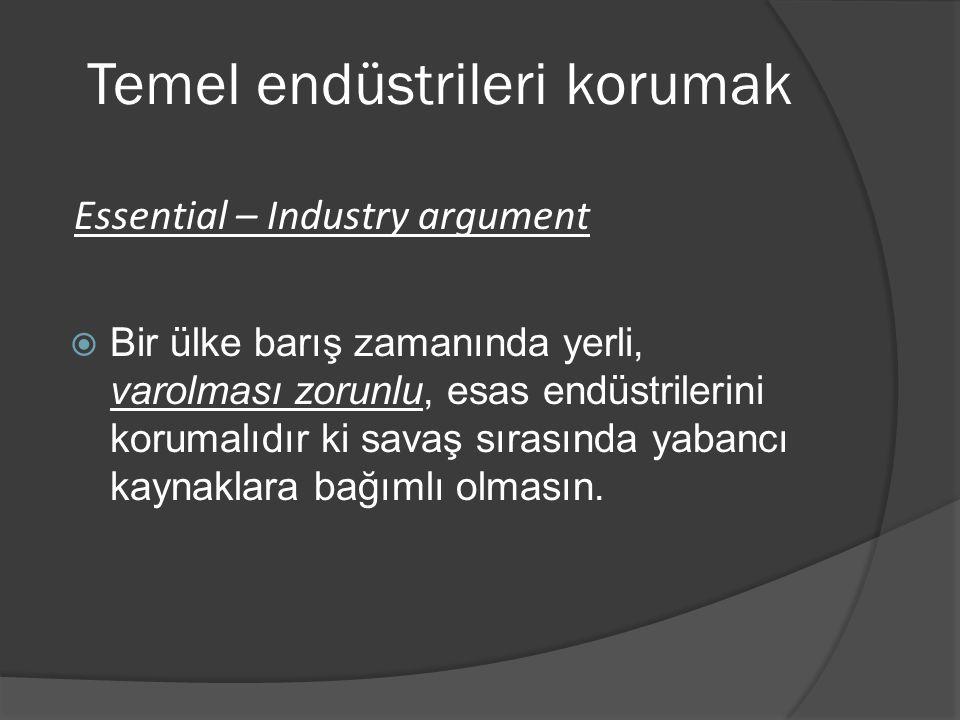 Temel endüstrileri korumak  Bir ülke barış zamanında yerli, varolması zorunlu, esas endüstrilerini korumalıdır ki savaş sırasında yabancı kaynaklara