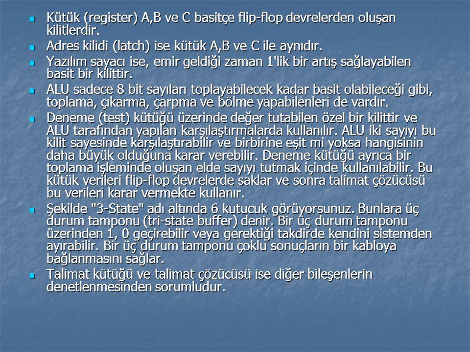 Kütük (register) A,B ve C basitçe flip-flop devrelerden oluşan kilitlerdir. Kütük (register) A,B ve C basitçe flip-flop devrelerden oluşan kilitlerdir