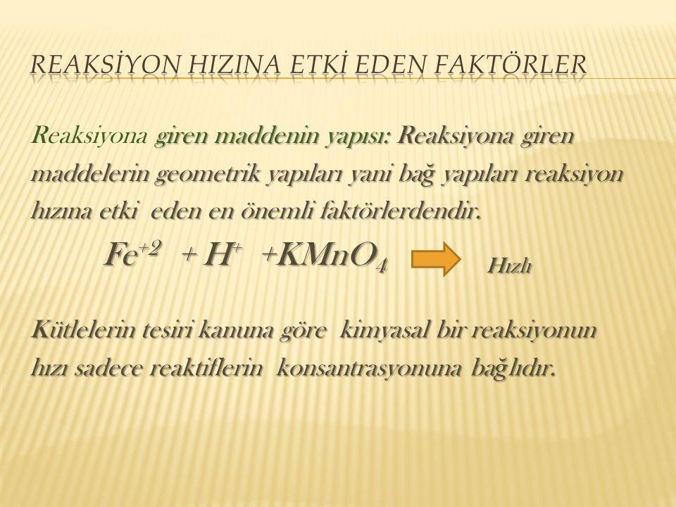 giren maddenin yapısı: Reaksiyona giren Reaksiyona giren maddenin yapısı: Reaksiyona giren maddelerin geometrik yapıları yani ba ğ yapıları reaksiyon hızına etki eden en önemli faktörlerdendir.