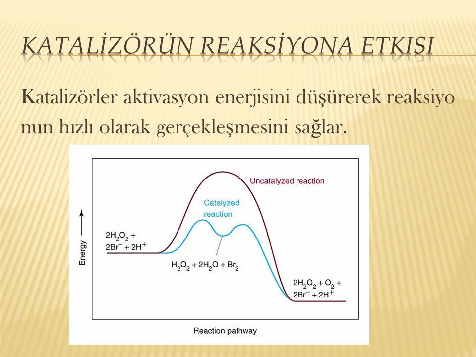 Katalizörler aktivasyon enerjisini dü ş ürerek reaksiyo nun hızlı olarak gerçekle ş mesini sa ğ lar.
