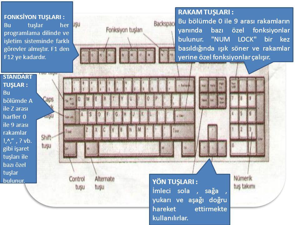 FONKSİYON TUŞLARI : Bu tuşlar her programlama dilinde ve işletim sisteminde farklı görevler almıştır.