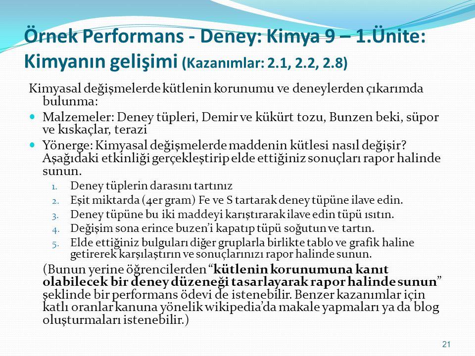 21 Örnek Performans - Deney: Kimya 9 – 1.Ünite: Kimyanın gelişimi (Kazanımlar: 2.1, 2.2, 2.8) Kimyasal değişmelerde kütlenin korunumu ve deneylerden ç