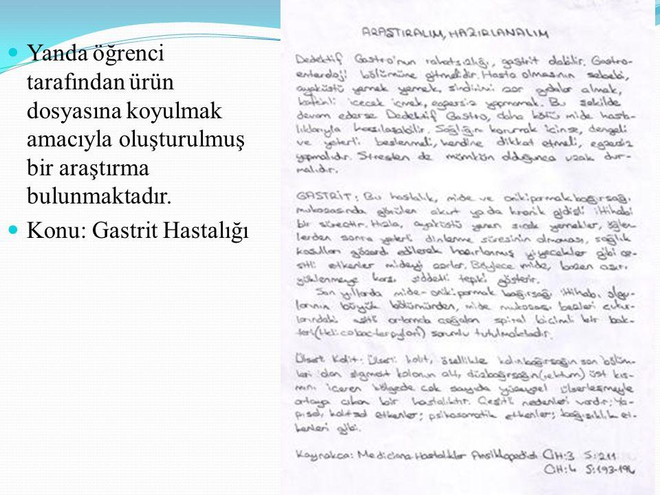 42 Yanda öğrenci tarafından ürün dosyasına koyulmak amacıyla oluşturulmuş bir araştırma bulunmaktadır. Konu: Gastrit Hastalığı