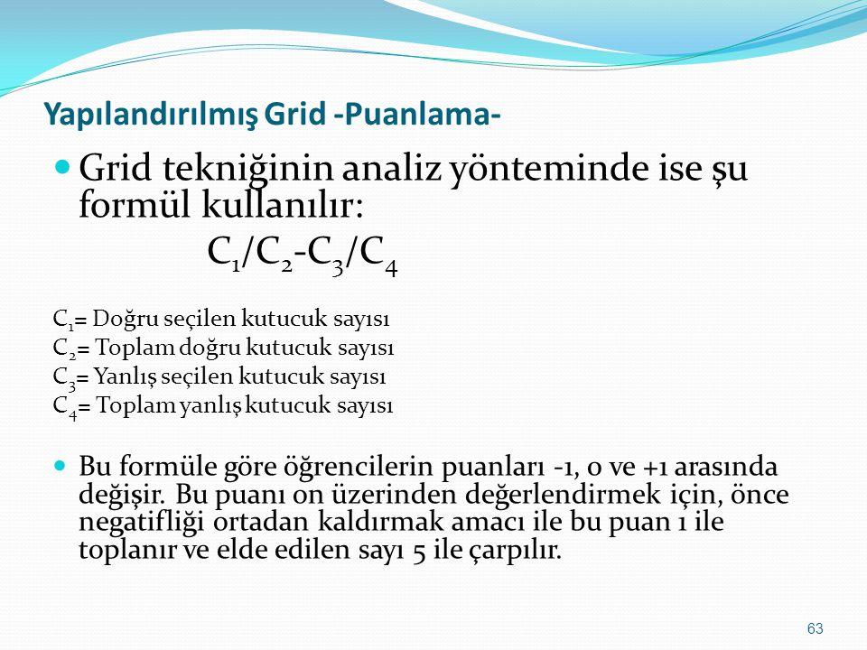63 Yapılandırılmış Grid -Puanlama- Grid tekniğinin analiz yönteminde ise şu formül kullanılır: C 1 /C 2 -C 3 /C 4 C 1 = Doğru seçilen kutucuk sayısı C