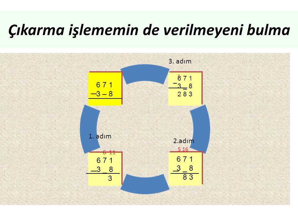 Çıkarma işlememin de verilmeyeni bulma _____ _ ______ _ _ _____ _ 6 11 5 16 5 1. adım 2.adım 3. adım