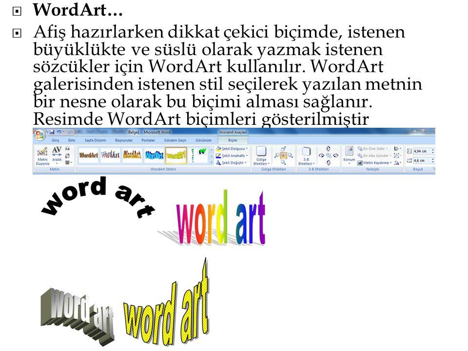  WordArt…  Afiş hazırlarken dikkat çekici biçimde, istenen büyüklükte ve süslü olarak yazmak istenen sözcükler için WordArt kullanılır. WordArt gale
