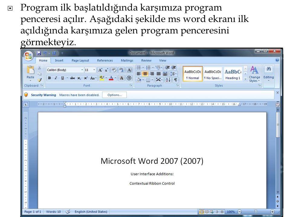  Program ilk başlatıldığında karşımıza program penceresi açılır. Aşağıdaki şekilde ms word ekranı ilk açıldığında karşımıza gelen program penceresini