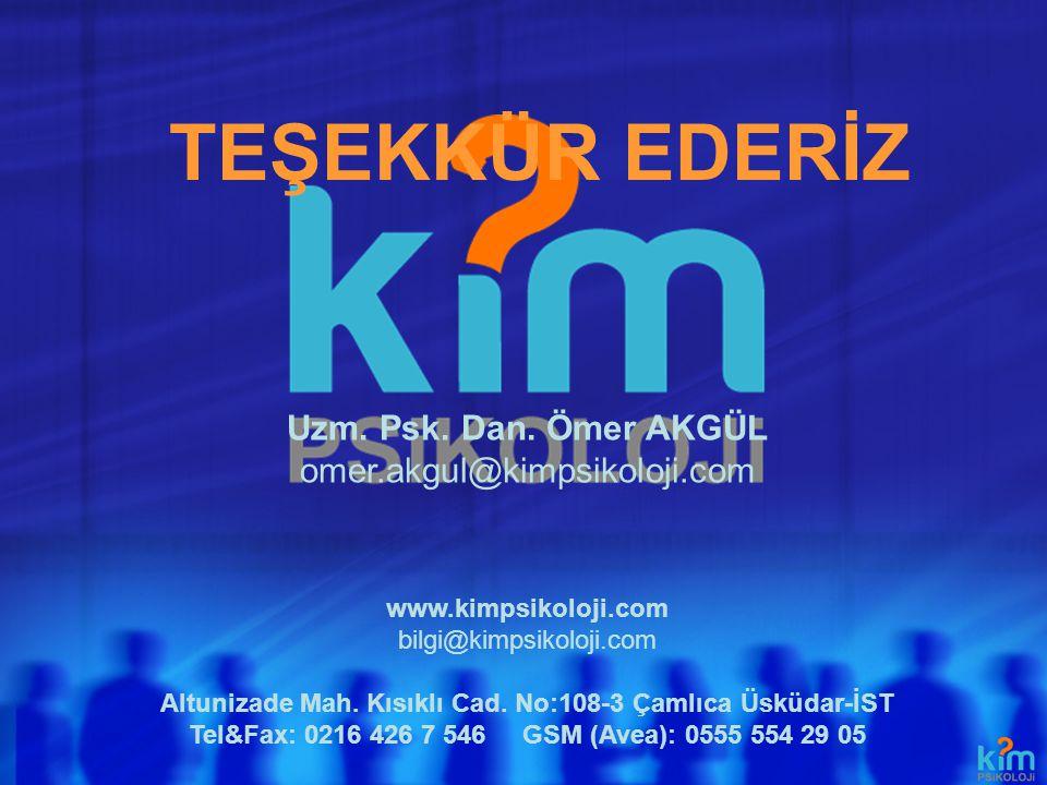 TEŞEKKÜR EDERİZ www.kimpsikoloji.com bilgi@kimpsikoloji.com Altunizade Mah. Kısıklı Cad. No:108-3 Çamlıca Üsküdar-İST Tel&Fax: 0216 426 7 546 GSM (Ave