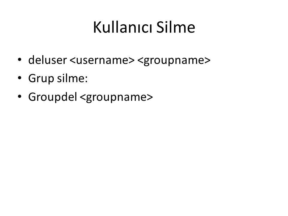 Kullanıcı Silme deluser Grup silme: Groupdel