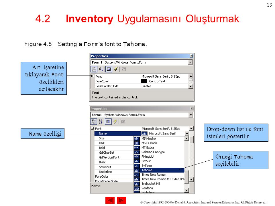 © Copyright 1992-2004 by Deitel & Associates, Inc. and Pearson Education Inc. All Rights Reserved. 13 4.2 Inventory Uygulamasını Oluşturmak Figure 4.8