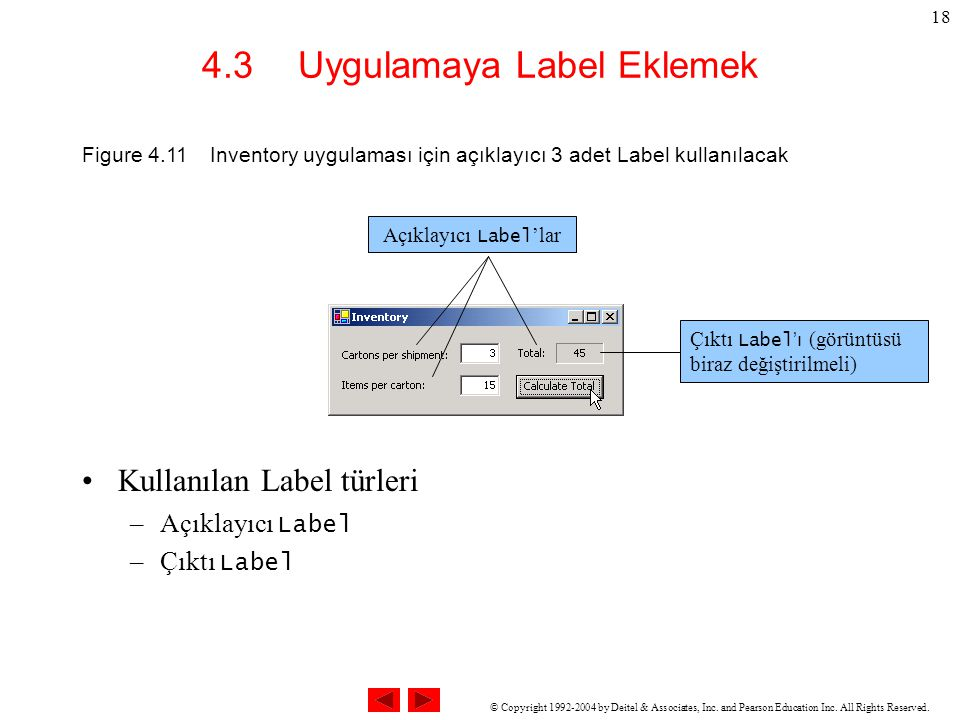 © Copyright 1992-2004 by Deitel & Associates, Inc. and Pearson Education Inc. All Rights Reserved. 18 4.3 Uygulamaya Label Eklemek Kullanılan Label tü