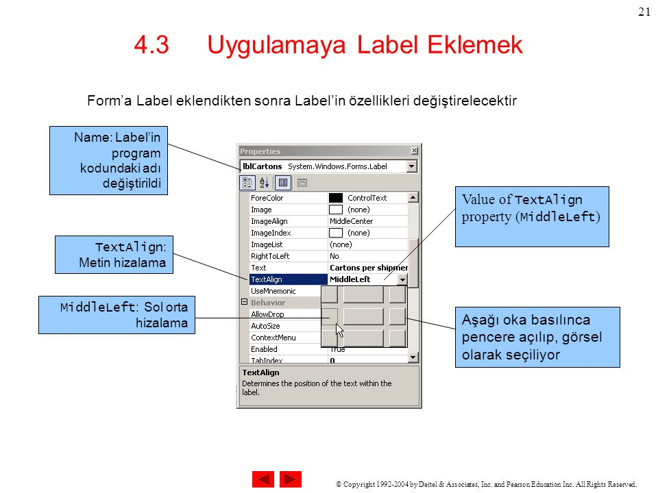 © Copyright 1992-2004 by Deitel & Associates, Inc. and Pearson Education Inc. All Rights Reserved. 21 4.3 Uygulamaya Label Eklemek Form'a Label eklend