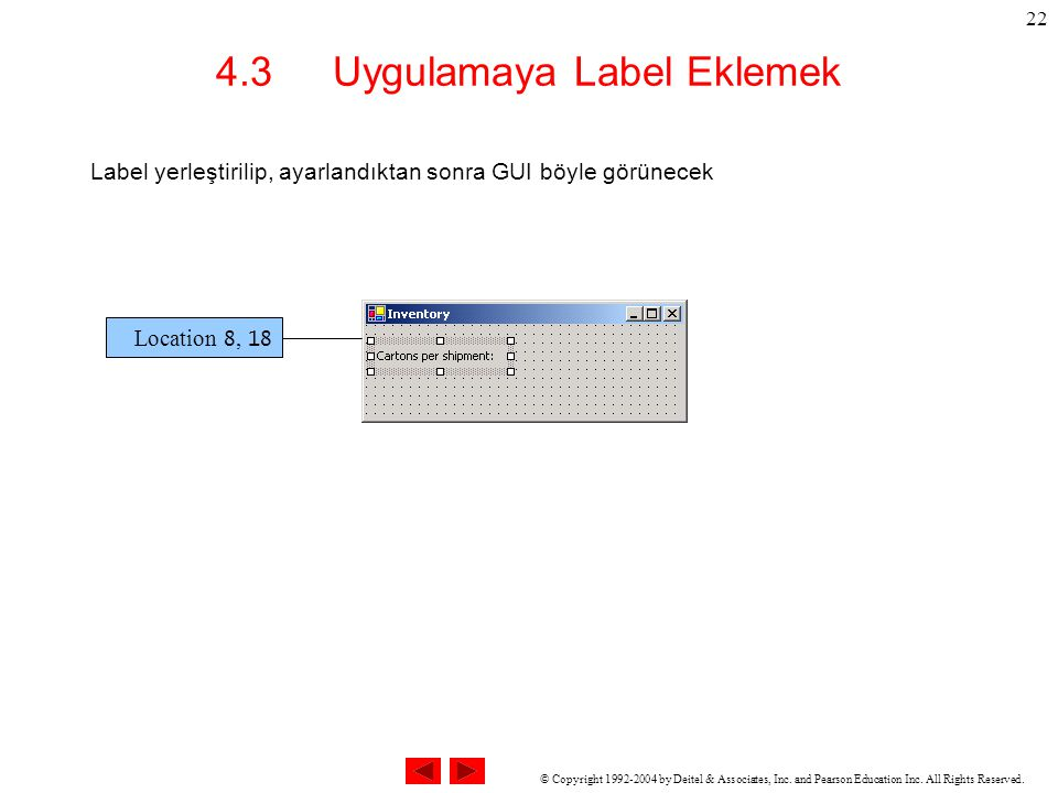 © Copyright 1992-2004 by Deitel & Associates, Inc. and Pearson Education Inc. All Rights Reserved. 22 4.3 Uygulamaya Label Eklemek Label yerleştirilip