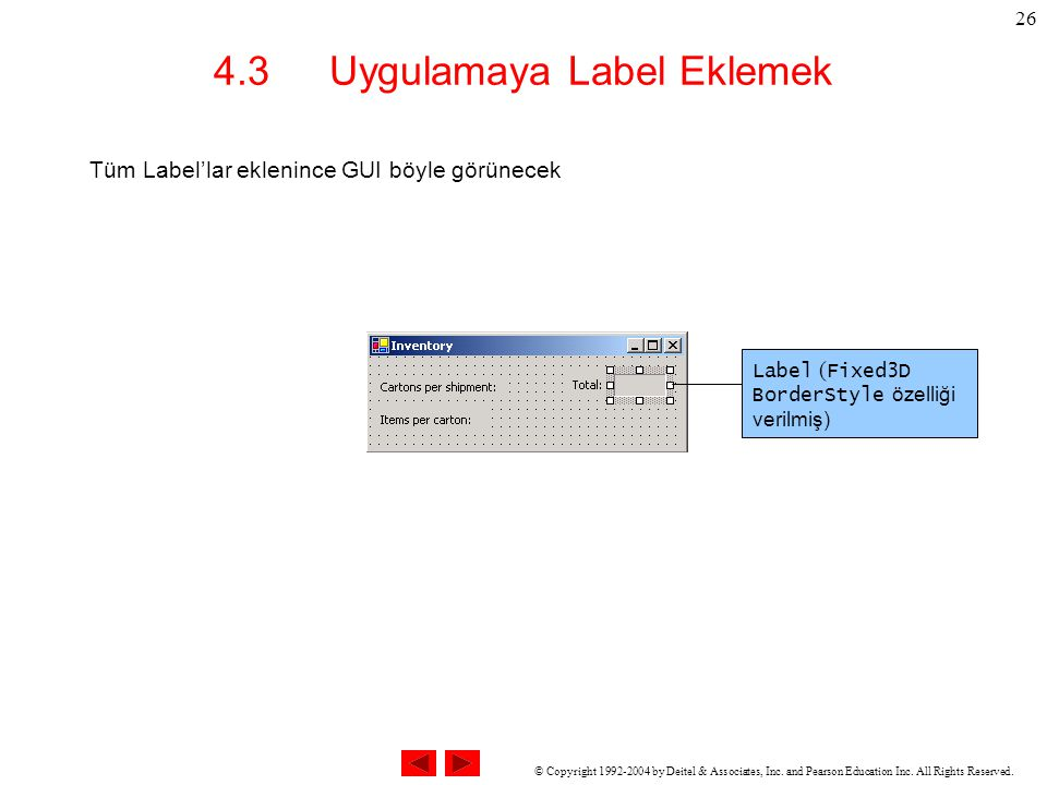 © Copyright 1992-2004 by Deitel & Associates, Inc. and Pearson Education Inc. All Rights Reserved. 26 4.3 Uygulamaya Label Eklemek Tüm Label'lar eklen