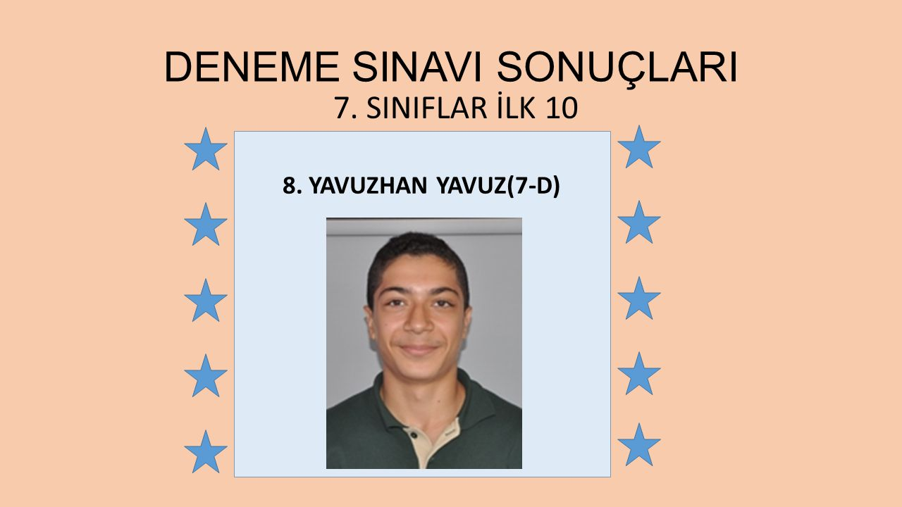 8. YAVUZHAN YAVUZ(7-D) 7. SINIFLAR İLK 10 DENEME SINAVI SONUÇLARI