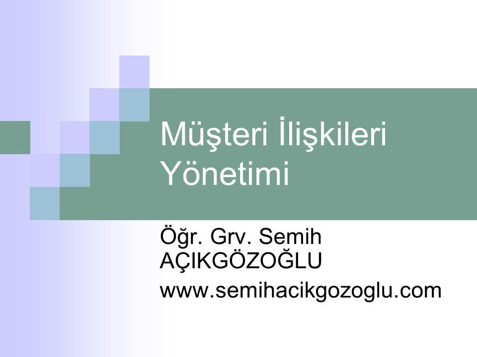 Müşteri İlişkileri Yönetimi Öğr. Grv. Semih AÇIKGÖZOĞLU www.semihacikgozoglu.com