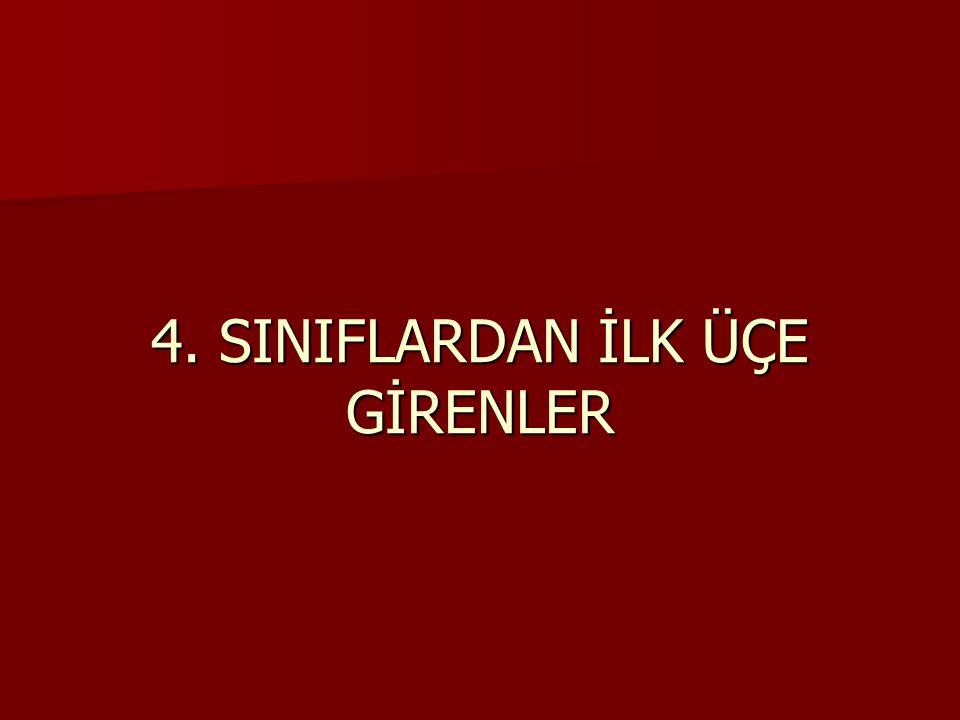 4. SINIFLARDAN İLK ÜÇE GİRENLER
