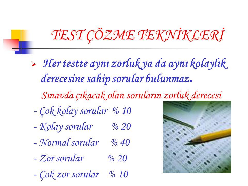 TEST ÇÖZME TEKNİKLERİ  Her testte aynı zorluk ya da aynı kolaylık derecesine sahip sorular bulunmaz. Sınavda çıkacak olan soruların zorluk derecesi -