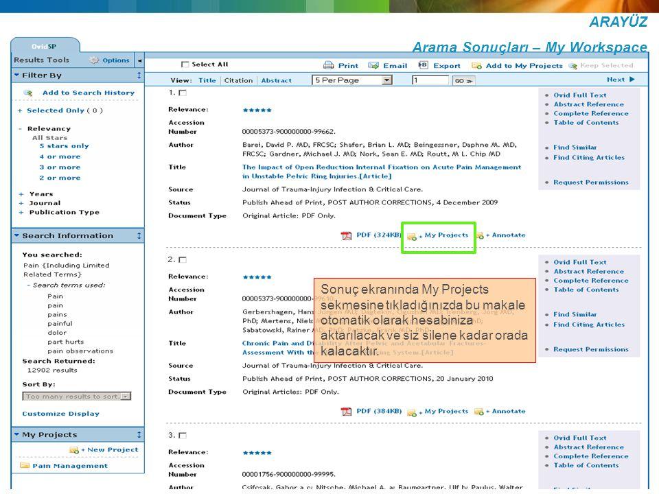 ARAYÜZ Arama Sonuçları – My Workspace Sonuç ekranında My Projects sekmesine tıkladığınızda bu makale otomatik olarak hesabiniza aktarılacak ve siz sil