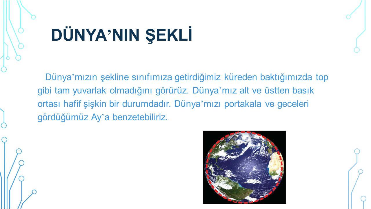 DÜNYA ' NIN ŞEKLİ Dünya ' mızın şekline sınıfımıza getirdiğimiz küreden baktığımızda top gibi tam yuvarlak olmadığını görürüz. Dünya ' mız alt ve üstt