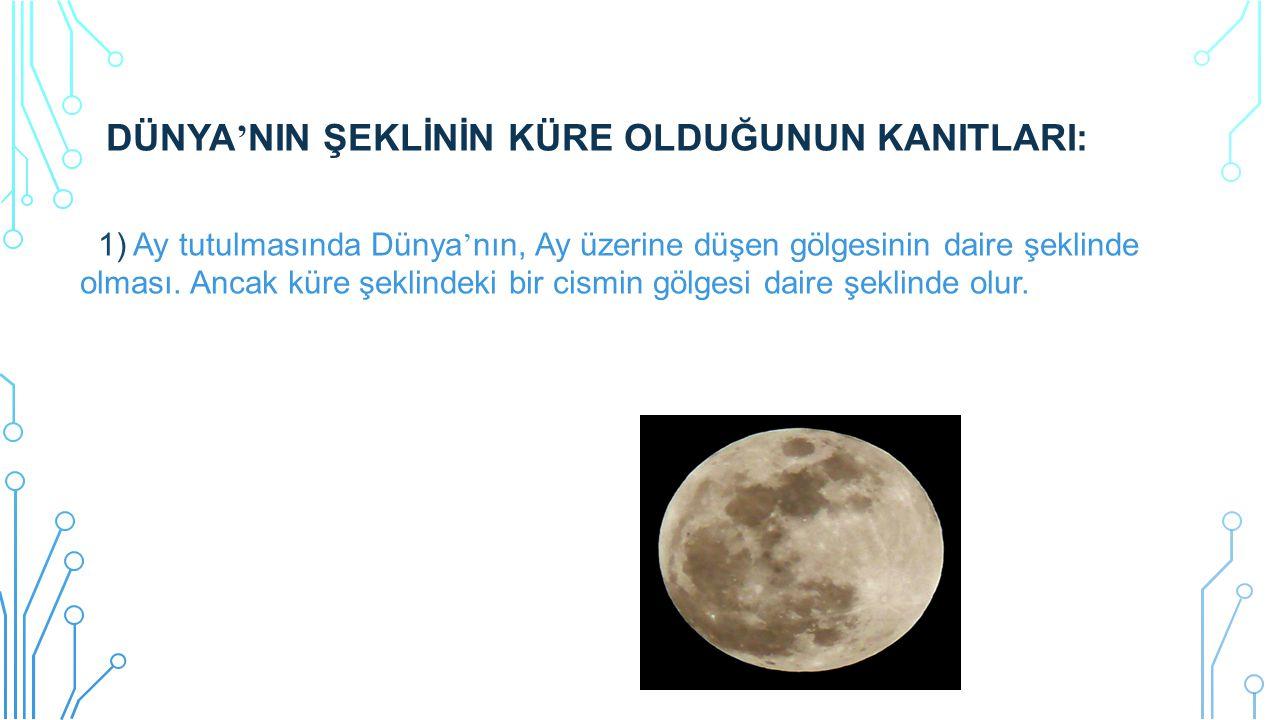 DÜNYA ' NIN ŞEKLİNİN KÜRE OLDUĞUNUN KANITLARI: 1) Ay tutulmasında Dünya ' nın, Ay üzerine düşen gölgesinin daire şeklinde olması. Ancak küre şeklindek