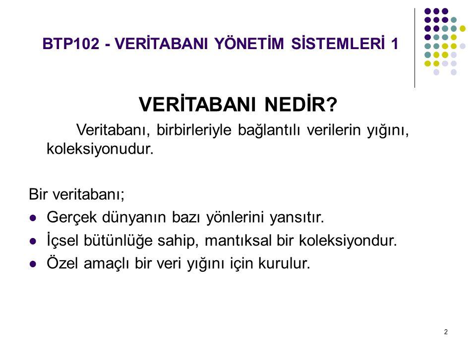3 BTP102 - VERİTABANI YÖNETİM SİSTEMLERİ 1 VERİTABANI YÖNETİM SİSTEMİ (VTYS) NEDİR.
