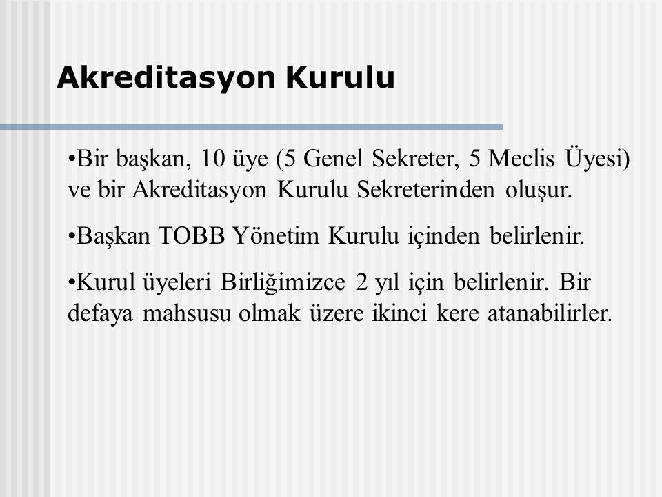 Bir başkan, 10 üye (5 Genel Sekreter, 5 Meclis Üyesi) ve bir Akreditasyon Kurulu Sekreterinden oluşur.