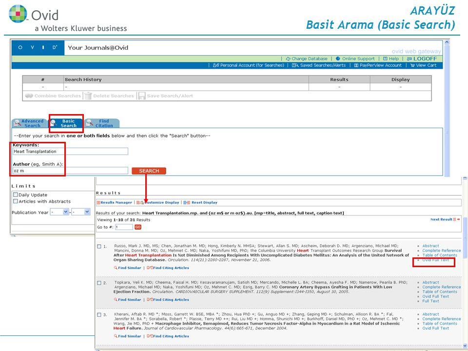 23.Mayıs.2007 13 ARAYÜZ Basit Arama (Basic Search) 