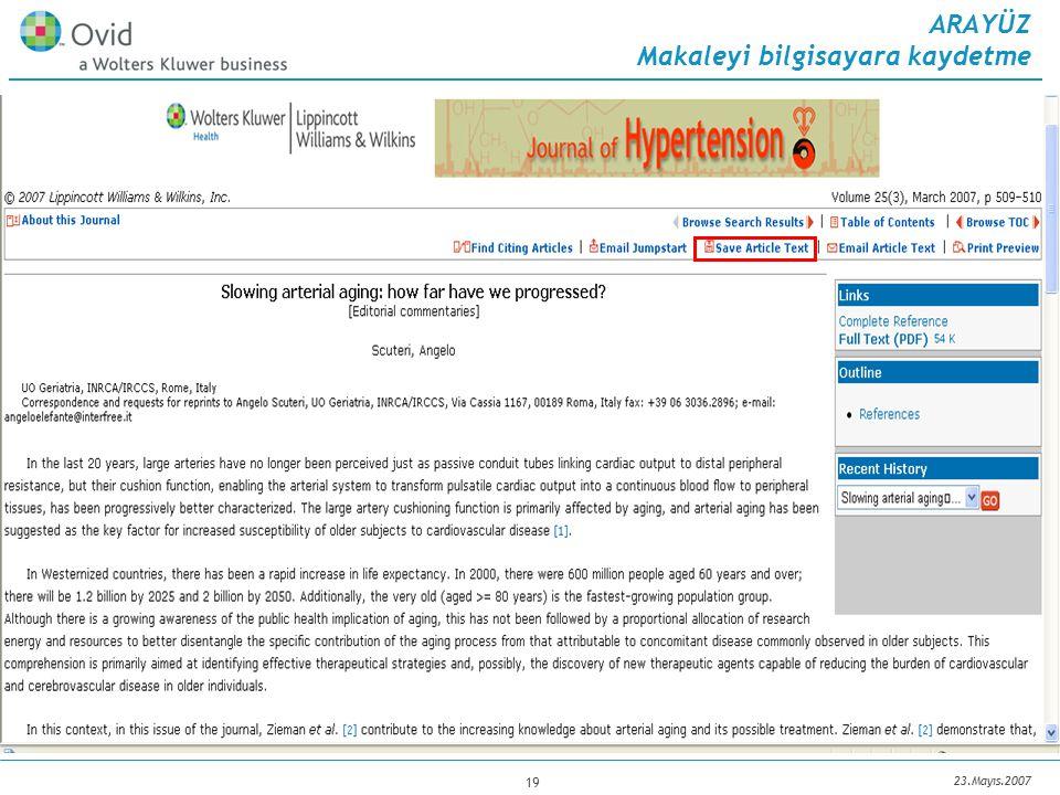 23.Mayıs.2007 19 ARAYÜZ Makaleyi bilgisayara kaydetme