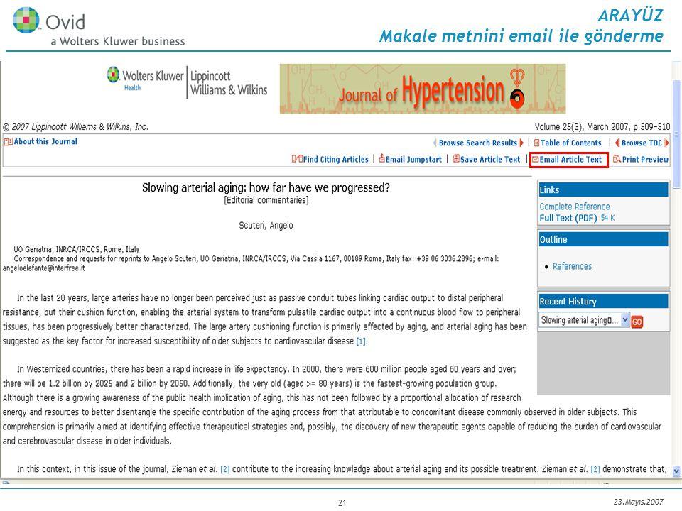 23.Mayıs.2007 21 ARAYÜZ Makale metnini email ile gönderme