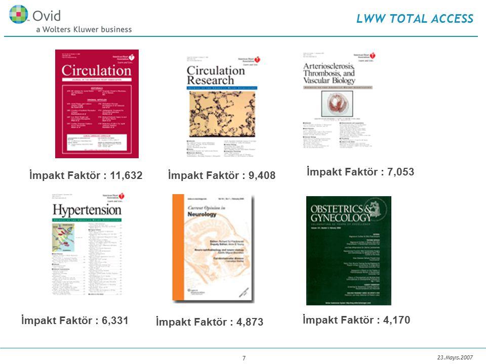 23.Mayıs.2007 7 LWW TOTAL ACCESS İmpakt Faktör : 11,632 İmpakt Faktör : 7,053 İmpakt Faktör : 9,408 İmpakt Faktör : 4,170 İmpakt Faktör : 4,873 İmpakt Faktör : 6,331
