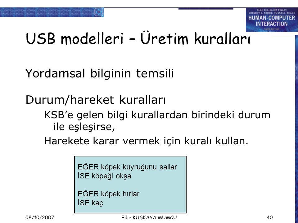 08/10/2007Filiz KUŞKAYA MUMCU40 USB modelleri – Üretim kuralları Yordamsal bilginin temsili Durum/hareket kuralları KSB'e gelen bilgi kurallardan birindeki durum ile eşleşirse, Harekete karar vermek için kuralı kullan.