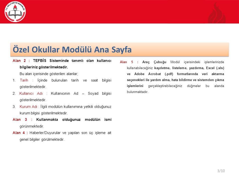 3/10 Özel Okullar Modülü Ana Sayfa Alan 2 : TEFBİS Sisteminde tanımlı olan kullanıcı bilgileriniz gösterilmektedir. Bu alan içerisinde gösterilen alan