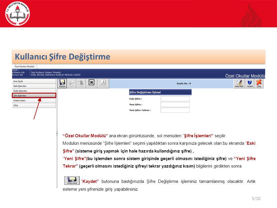 5/10 Kullanıcı Şifre Değiştirme Özel Okullar Modülü ana ekran görüntüsünde, sol menüden Şifre İşlemleri seçilir.