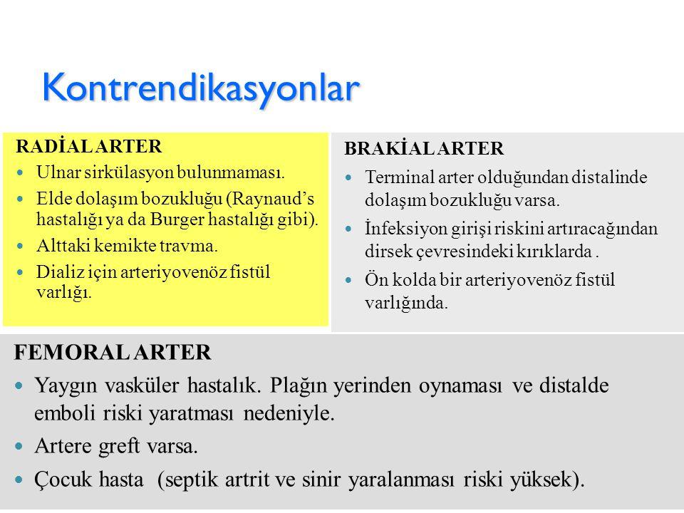 Kontrendikasyonlar BRAKİAL ARTER Terminal arter olduğundan distalinde dolaşım bozukluğu varsa. İnfeksiyon girişi riskini artıracağından dirsek çevresi