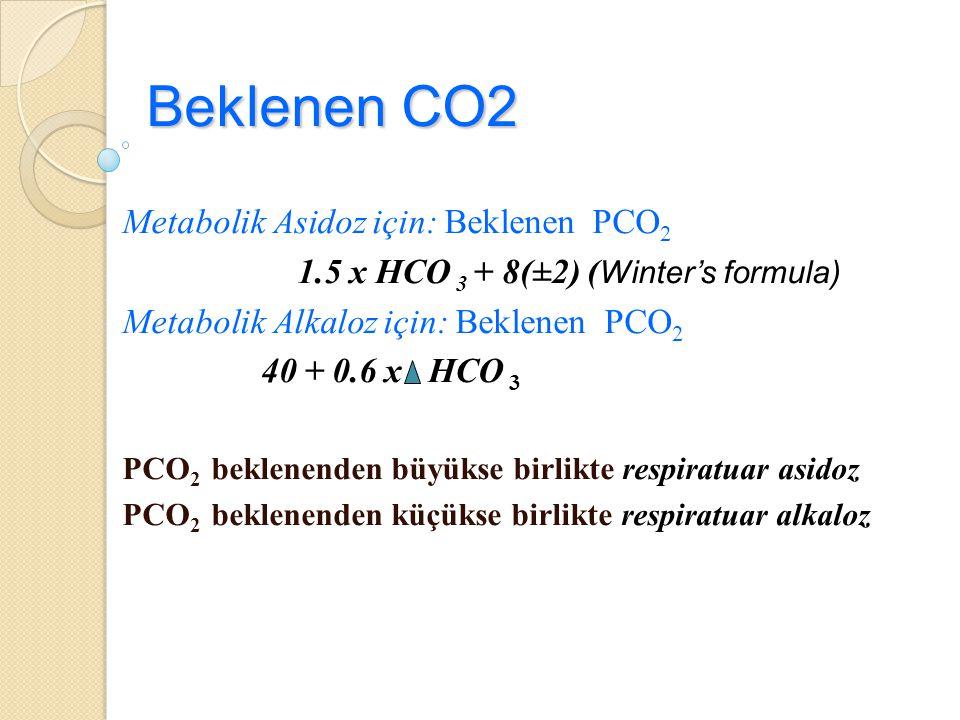 Beklenen CO2 Metabolik Asidoz için: Beklenen PCO 2 1.5 x HCO 3 + 8(±2) ( Winter's formula) Metabolik Alkaloz için: Beklenen PCO 2 40 + 0.6 x HCO 3 PCO