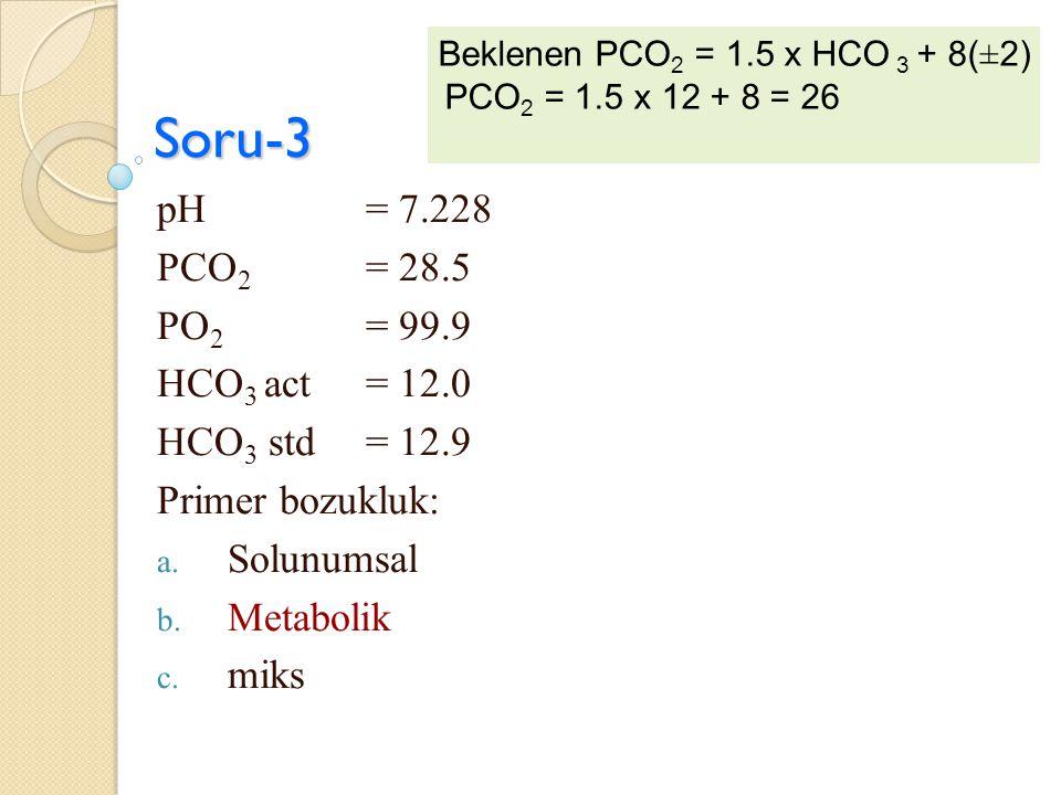 Soru-3 pH = 7.228 PCO 2 = 28.5 PO 2 = 99.9 HCO 3 act = 12.0 HCO 3 std = 12.9 Primer bozukluk: a. Solunumsal b. Metabolik c. miks Beklenen PCO 2 = 1.5