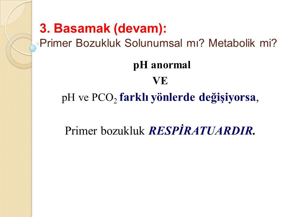 3. Basamak (devam): Primer Bozukluk Solunumsal mı? Metabolik mi? pH anormal VE pH ve PCO 2 farklı yönlerde değişiyorsa, Primer bozukluk RESPİRATUARDIR