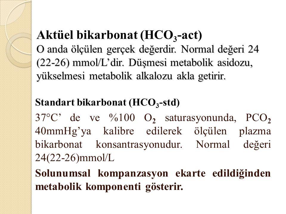 Solunumsal Alkaloz ASİT (CO 2 ) BAZ (HCO 3 ) 7.0 7.8 NEDENLERİ SSS stimulasyonu: ateş, ağrı, korku, sinirlilik, CVA, beyin tm, SSS infeksiyonları Hipoksemi veya hipoksi: akciğer hastalığı, düşük FiO2 plevral effüzyon, pnömoni, emboli, px İlaçlar, hormonlar: salisilatlar, katekolaminler, medroksiprogesteron, progestinler Hamilelik, KC hast, sepsis, hipertiroidi uygunsuz MV ayarları SOLUNUMSAL KOMPONENT METABOLİK KOMPONENT