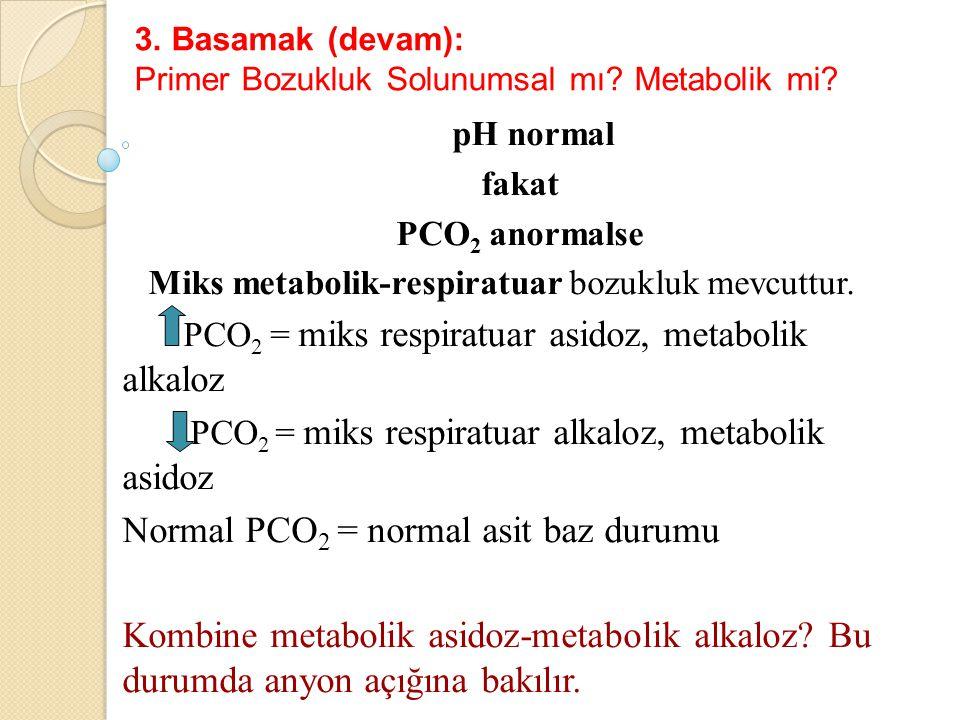 3. Basamak (devam): Primer Bozukluk Solunumsal mı? Metabolik mi? pH normal fakat PCO 2 anormalse Miks metabolik-respiratuar bozukluk mevcuttur. PCO 2