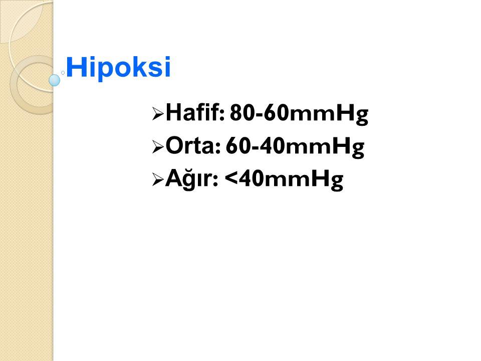 H ipoksi  Hafif : 80-60mmHg  Orta : 60-40mmHg  Ağır : <40mmHg