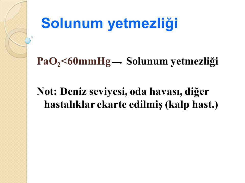 Solunum yetmezliği PaO 2 <60mmHg Solunum yetmezliği Not: Deniz seviyesi, oda havası, diğer hastalıklar ekarte edilmiş (kalp hast.)