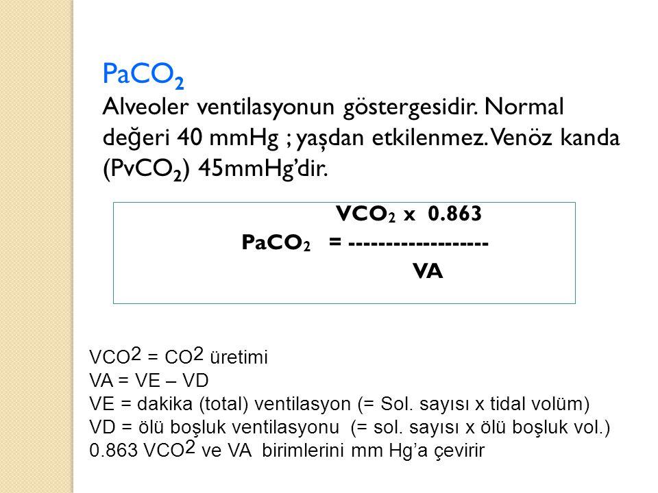 PaCO 2 Alveoler ventilasyonun göstergesidir. Normal de ğ eri 40 mmHg ; yaşdan etkilenmez. Venöz kanda (PvCO 2 ) 45mmHg'dir. VCO 2 x 0.863 PaCO 2 = ---