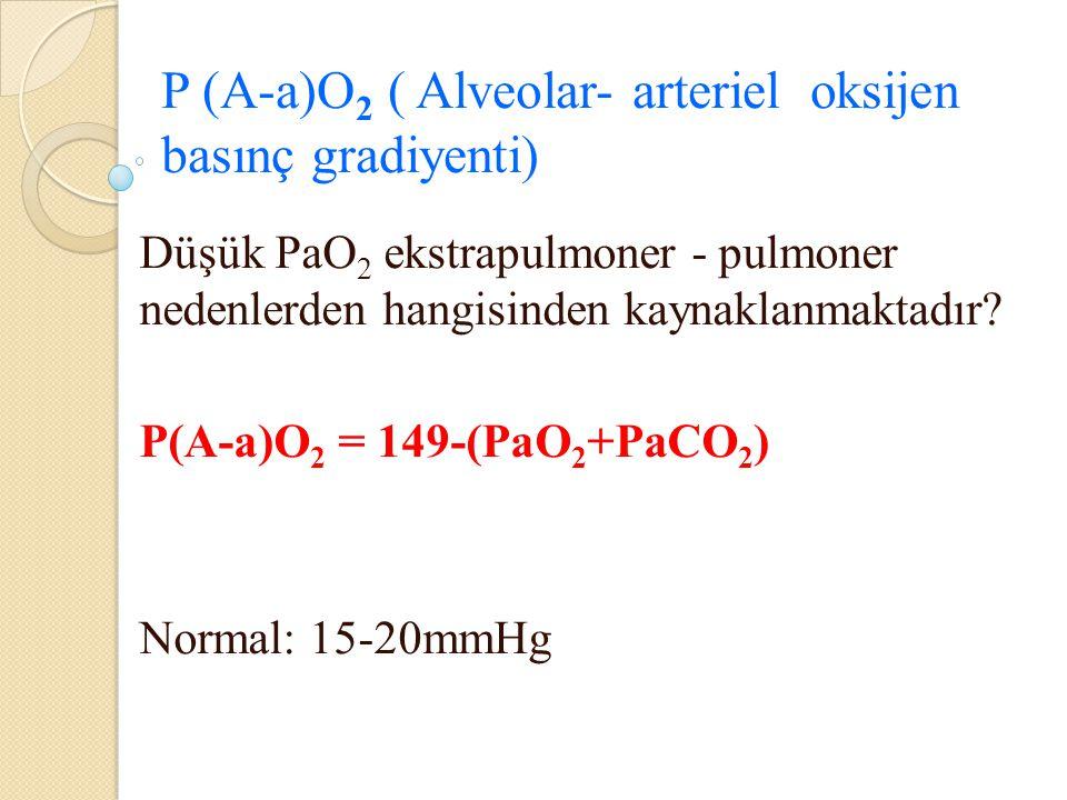 P (A-a)O 2 ( Alveolar- arteriel oksijen basınç gradiyenti) Düşük PaO 2 ekstrapulmoner - pulmoner nedenlerden hangisinden kaynaklanmaktadır? P(A-a)O 2