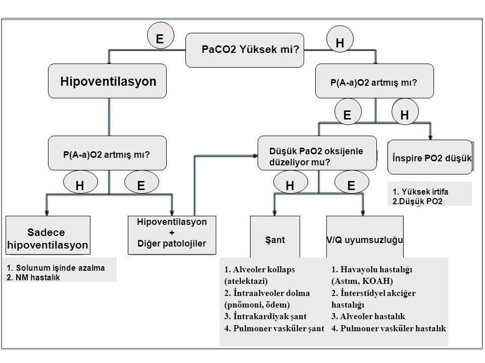 PaCO2 Yüksek mi? E H Hipoventilasyon P(A-a)O2 artmış mı? E H HEHE Düşük PaO2 oksijenle düzeliyor mu? ŞantV/Q uyumsuzluğu Hipoventilasyon + Diğer patol