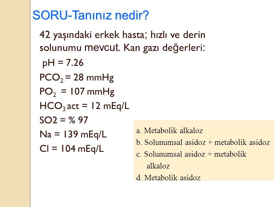 SORU-Tanınız nedir? 42 yaşındaki erkek hasta ; hızlı ve derin solunumu mevcut. Kan gazı de ğ erleri : pH = 7.26 PCO 2 = 28 mmHg PO 2 = 107 mmHg HCO 3