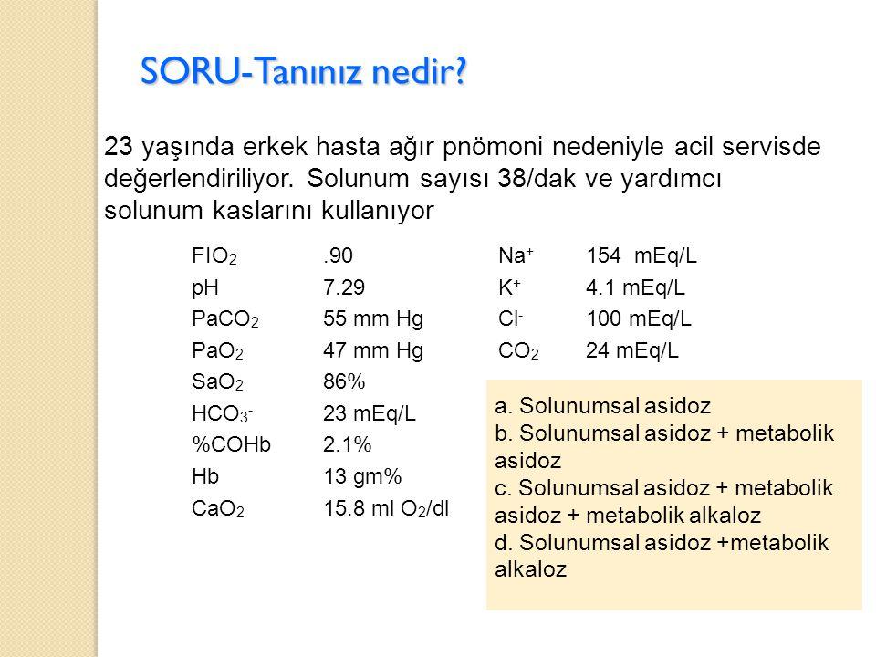 SORU-Tanınız nedir? 23 yaşında erkek hasta ağır pnömoni nedeniyle acil servisde değerlendiriliyor. Solunum sayısı 38/dak ve yardımcı solunum kaslarını