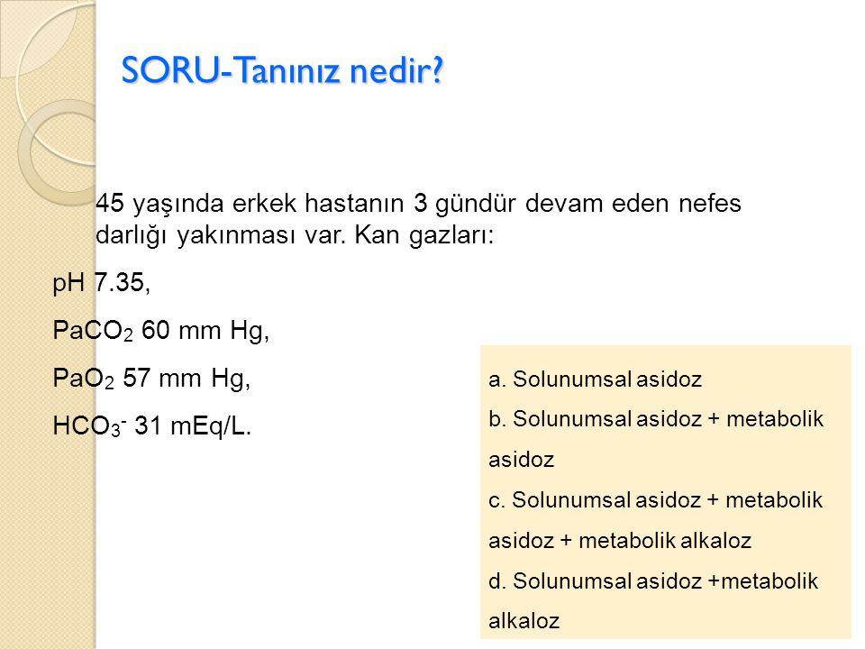 SORU-Tanınız nedir? 45 yaşında erkek hastanın 3 gündür devam eden nefes darlığı yakınması var. Kan gazları: pH 7.35, PaCO 2 60 mm Hg, PaO 2 57 mm Hg,