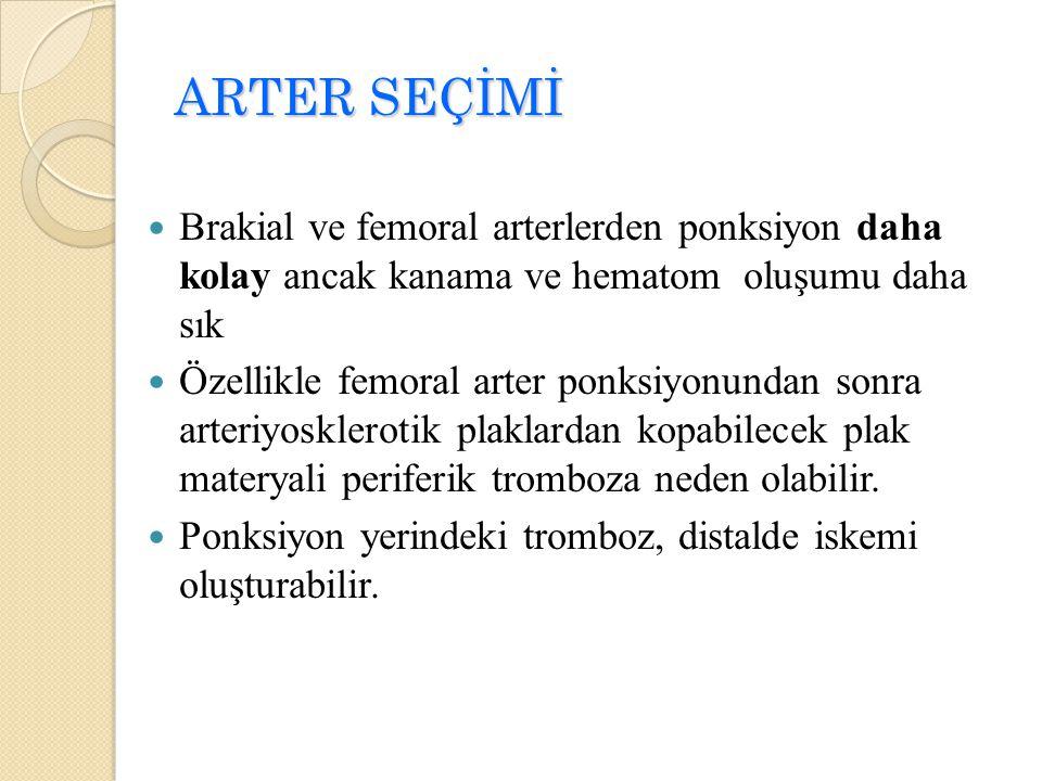 Brakial ve femoral arterlerden ponksiyon daha kolay ancak kanama ve hematom oluşumu daha sık Özellikle femoral arter ponksiyonundan sonra arteriyoskle